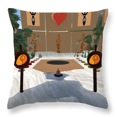 Square Throw Pillow featuring the digital art Meditation Beach by Eikoni Images
