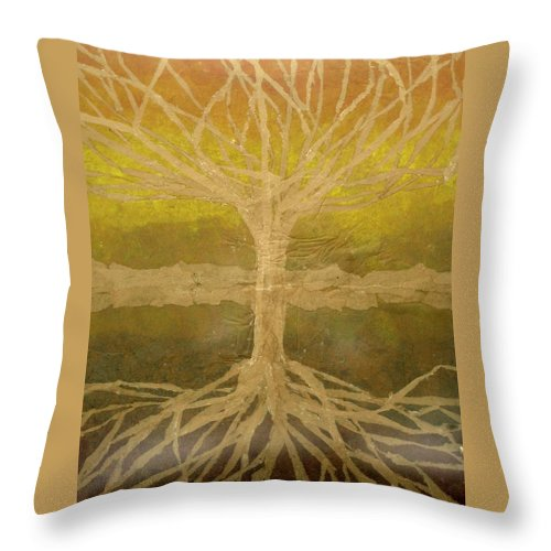 Abstract Throw Pillow featuring the painting Meditation by Leah Tomaino