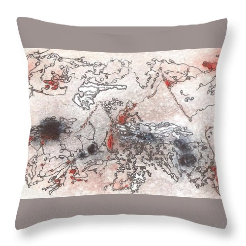 Postcard Throw Pillow featuring the painting Meditations And Love Letters #15082 by Ronda Stephens