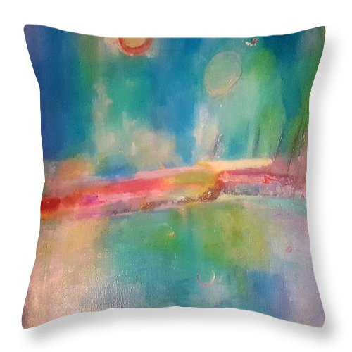 Abstract Throw Pillow featuring the painting Mediterranean Dream by Patricia Byron