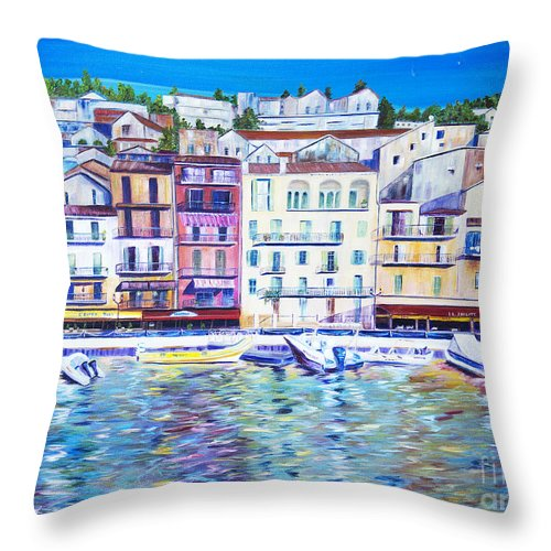 France Throw Pillow featuring the painting Mediterranean Morning by JoAnn DePolo