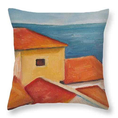 Italy Throw Pillow featuring the painting Mediterranean Rooftops by Julie Dalton Gourgues