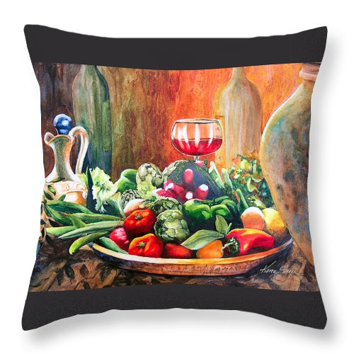 Still Life Throw Pillow featuring the painting Mediterranean Table by Karen Stark