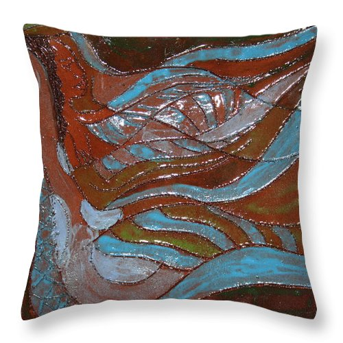 Jesus Throw Pillow featuring the ceramic art Medusa - Tile by Gloria Ssali