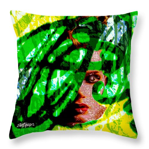 Abstract Throw Pillow featuring the digital art Medusa 1-26 by Seth Weaver