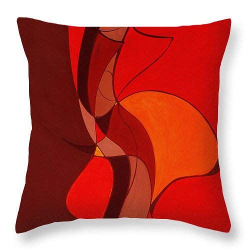 Abstract Throw Pillow featuring the painting Meeting In The Middle 2009 by Ruth Palmer