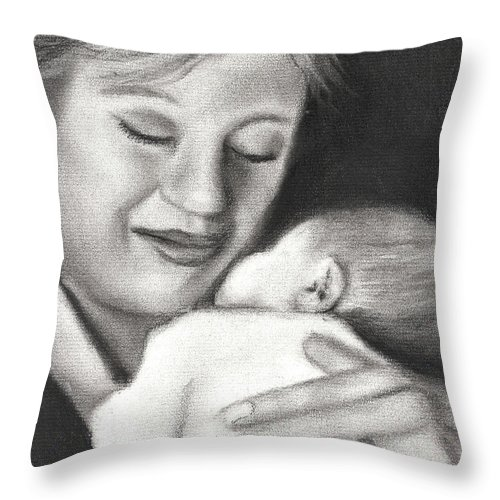 Grandmother Infant Grandma Baby Portrait Pediatric Woman Throw Pillow featuring the drawing Meeting Mr. Handsome by Grace Rose