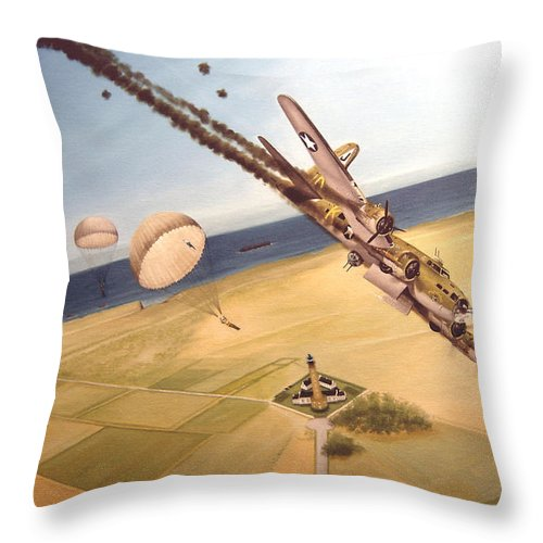 Aviation Throw Pillow featuring the painting Mehitabel by Marc Stewart