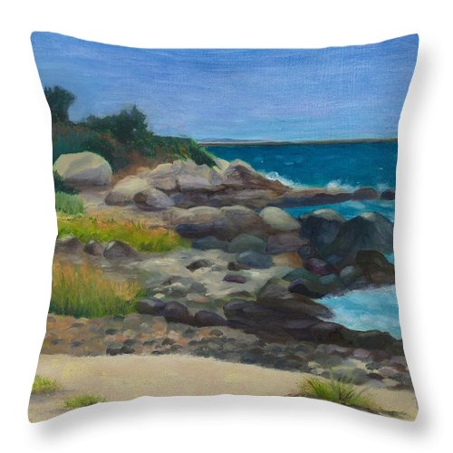 Landscape Throw Pillow featuring the painting Meigs Point by Paula Emery