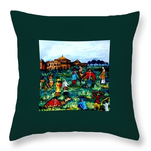 Oil Painting Throw Pillow featuring the painting Mela - Carnival by Fareeha Khawaja