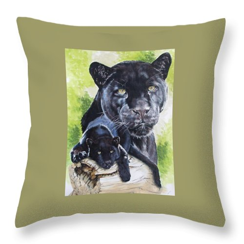 Big Cat Throw Pillow featuring the mixed media Melancholy by Barbara Keith
