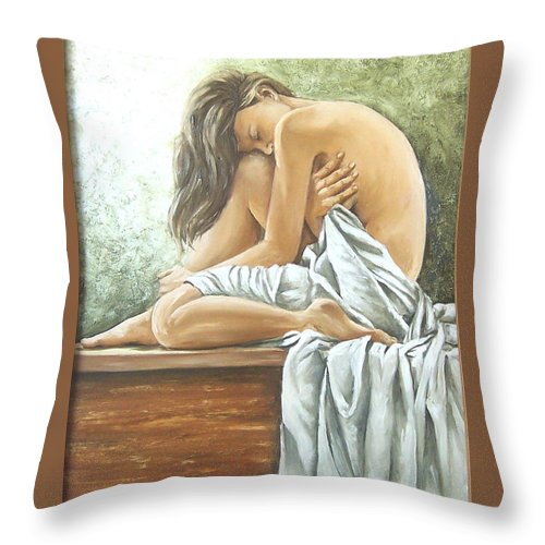 Gir Throw Pillow featuring the painting Melancholy by Natalia Tejera