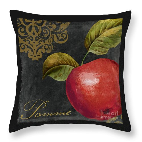Apple Throw Pillow featuring the painting Melange Apple Pomme by Mindy Sommers