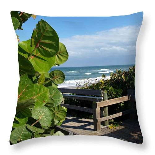 Seagrape; Sea; Grape; Ocean; Cocoanut; Point; Melbourne; Beach; Florida; Waves; Surf; Seascape; Brev Throw Pillow featuring the photograph Melbourne Beach Florida by Allan Hughes