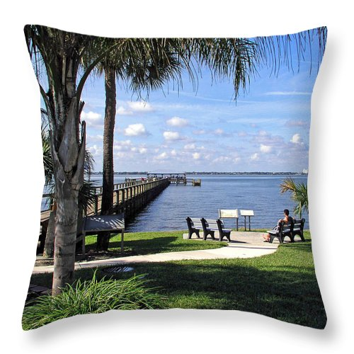 Melbourne; Beach; Pier; Florida; Peaceful; Peace; Indian; River; South; Scene; Scenery; South; South Throw Pillow featuring the photograph Melbourne Beach Pier In Florida by Allan Hughes