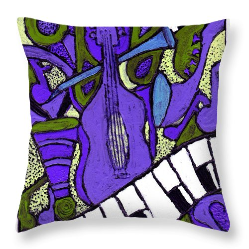 Jazz Throw Pillow featuring the painting Melllow Jazz by Wayne Potrafka