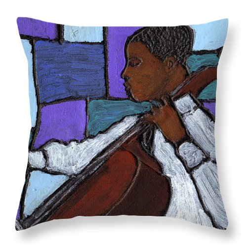 Blues Throw Pillow featuring the painting Mellow Blues by Wayne Potrafka