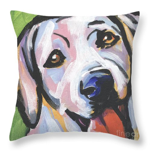 Yellow Lab Throw Pillow featuring the painting Mellow Yellow by Lea S