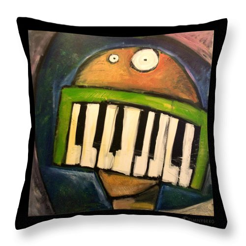 Funny Throw Pillow featuring the painting Melodica Mouth by Tim Nyberg