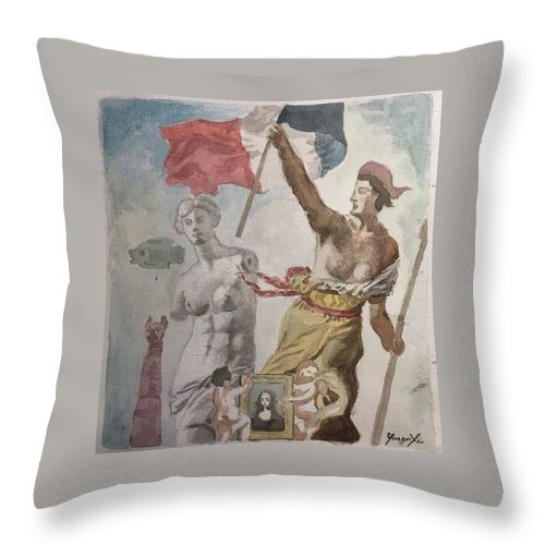 Louvre Throw Pillow featuring the painting Melting Pot by Yonger Xie