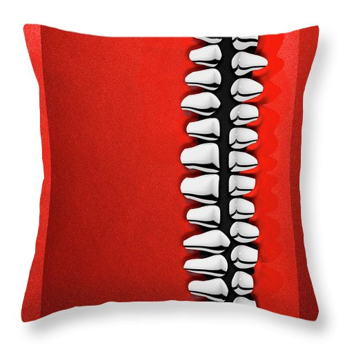 'memento Mori' Collection By Serge Averbukh Throw Pillow featuring the digital art Memento Mori - Silver Human Teeth Over Red And Black Canvas by Serge Averbukh