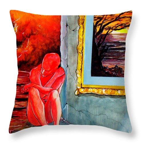 War Sunset Bombs Explosion Wait Loneliness Frustration Throw Pillow featuring the painting Memoirs Of A Bloody Sunset by Veronica Jackson