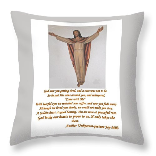 Floating Christ Statue Throw Pillow featuring the photograph Memorial Card by Jay Milo