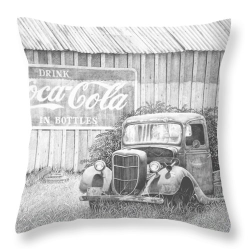 Antiques Throw Pillow featuring the drawing Memories by Howard Dubois