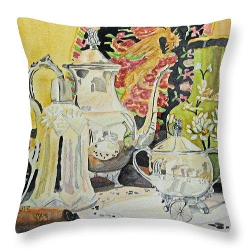 Silver Throw Pillow featuring the painting Memories In Reflection I by Gerald Carpenter