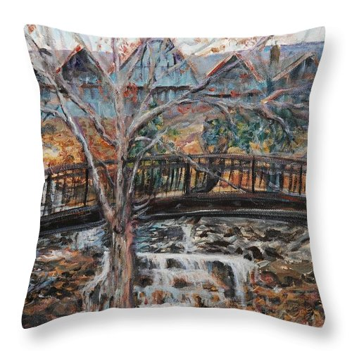 Waterfalls Throw Pillow featuring the painting Memories by Nadine Rippelmeyer