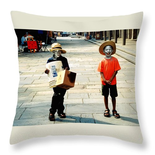 Big Easy Throw Pillow featuring the photograph Memories Of A Better Time The Children Of New Orleans by Christine Till