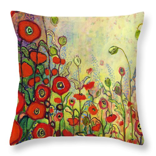 Poppy Throw Pillow featuring the painting Memories Of Grandmother's Garden by Jennifer Lommers