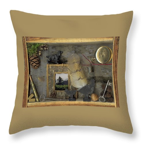 Antiques Throw Pillow featuring the mixed media Memories by Sandi F Hutchins