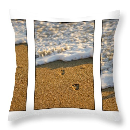 Beach Throw Pillow featuring the photograph Memories Washed Away by Jill Reger