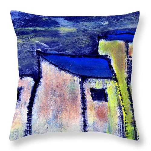Buidings Throw Pillow featuring the painting Memories by Wayne Potrafka