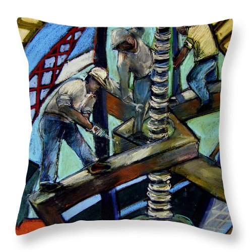 Men Throw Pillow featuring the painting Men At Work by Angelina Marino