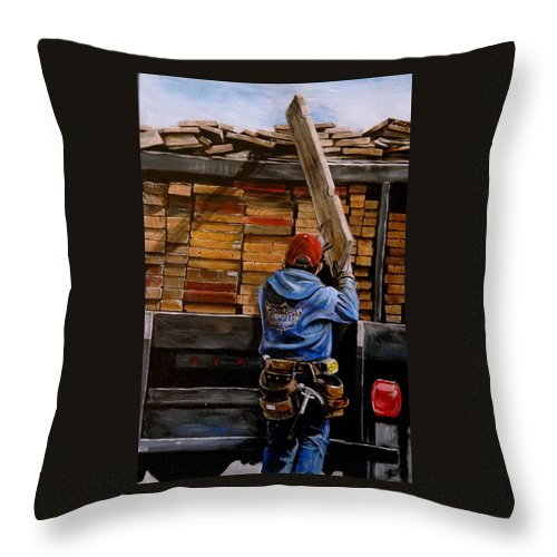 Construction Throw Pillow featuring the painting Men At Work IIi by Duke Windsor