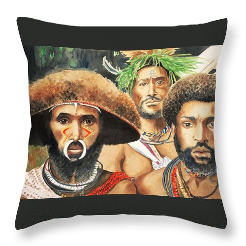 Men From New Guinea Throw Pillow featuring the painting Men From New Guinea by Judy Swerlick