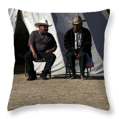 Pow Wow Throw Pillow featuring the photograph Men Talking by Joe Kozlowski