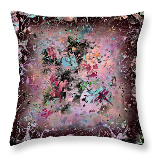 Abstract Throw Pillow featuring the digital art Menagerie by Rachel Christine Nowicki
