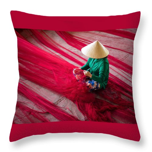 People Throw Pillow featuring the photograph Mending The Nets by Son Truong