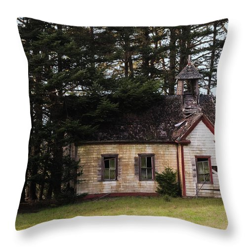 Mendocino Throw Pillow featuring the photograph Mendocino Schoolhouse by Grant Groberg
