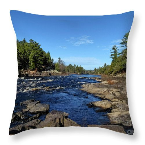 Menominee River At Pemene Falls Michigan Throw Pillow featuring the photograph Menominee River At Pemene Falls Michigan by Teresa A and Preston S Cole Photography