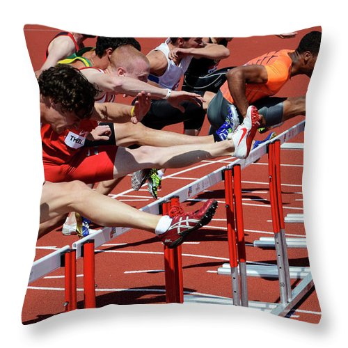 Canadian Track And Field National Championships 2011 Throw Pillow featuring the photograph Mens Hurdles 2 by Bob Christopher