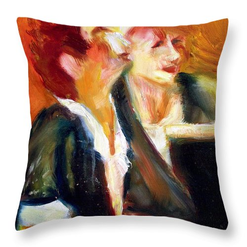 Dornberg Throw Pillow featuring the painting Mentor And Student At The Piano by Bob Dornberg