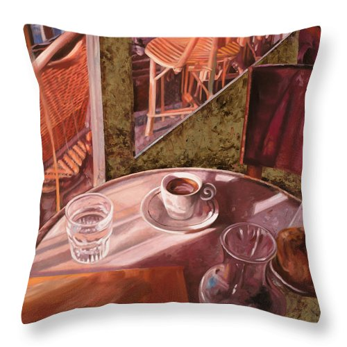 Caffe Throw Pillow featuring the painting Mentre Ti Aspetto by Guido Borelli