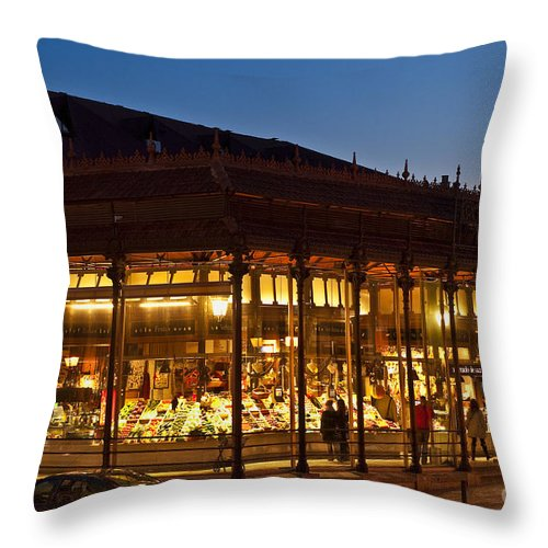 Beaux-arts Throw Pillow featuring the photograph Mercado De San Miguel by John Greim