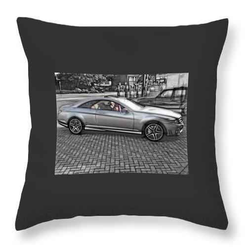 Car Throw Pillow featuring the digital art Mercedes Amg Black And White by Marco De Mooy