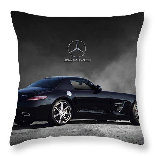Mercedes Benz Throw Pillow featuring the digital art Mercedes Benz Sls Amg by Peter Chilelli
