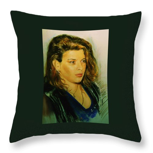 Portrait Throw Pillow featuring the pastel Meri by Sefedin Stafa